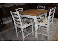 beautiful vintage oak table and four chairs shabby chic painted