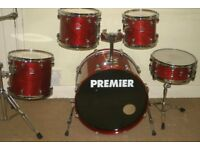 Premier XPK Rosewood Lacquered 5 Piece Drum Kit (22 inch Bass) - Made In England - DRUMS ONLY