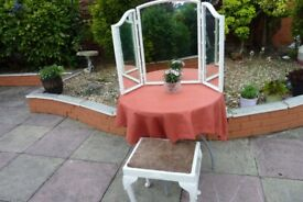 LARGE TRIPLE DRESSING TABLE MIRROR + STOOL - CLEAN