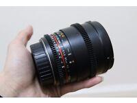 Samyang 85mm T1.5 - VDSLR CINE Lens - Declicked Aperture Ring - Canon Fit