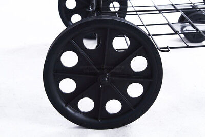 "DLUX 2Lg Black 9""Back Wheels For Folding Shopping Cart 3/8 Opening Hole Mandrel"
