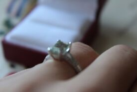 Brand New 9 ct White Gold Emerald Cut Green Amethyst Ring with Diamond Shoulders