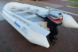 ADVENTURE 4 M INFLATABLE DINGHY BOAT & MARINER 15 HP OUTBOARD MOTOR