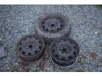 3 x Skoda Octavia Steel Wheels. Fit Audi A3, VW Golf, Seat Ibiza and many more