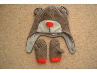 MINI BODEN HAT & MITTENS - BEAR PATTEN * EXCELLENT CONDITION * AGE 12-24 MONTHS