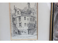 Antique Drawing John Knox's House by K.V. Forbes 1926 Edinburgh Scotland Reformation Vintage