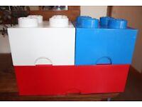 3 Lego Storage Boxes - 1 x blue 4 brick, 1 x white 4 brick & 1 x red 8 brick