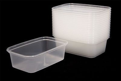 10 X 650ML SATCO Plastic Containers Tubs Clear Lids Microwave Food Safe Takeaway