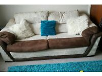 SCS Cream and brown cord faux leather 3 and 2 seater sofas, excellent cond, will deliver, £260 ono