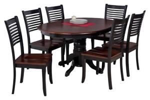 Valleyview Seven Piece Dining Set In Distressed Light Cherry And Black