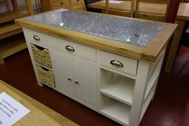New cream and oak large kitchen island with granite top £789