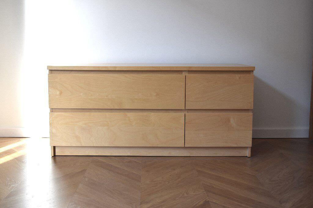 Ikea Malm Low Level 4 Drawer Chest Birch Veneer In Edinburgh