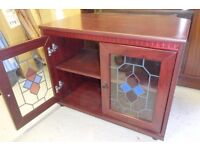 Set of Display Units (medium size) & TV Stand, 3 Piece, Stained Glass Effect, Nice Rich Warm Colour