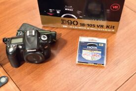 Nikon D90 12.3MP Digital SLR Camera - (Kit w/ AF-S DX 18-105mm Lens) with extras