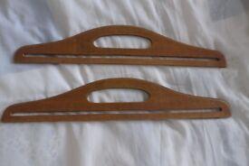 Pair of Genuine Vintage Wooden Knitting /Sewing / Craft Bag Handles. Unusually large.