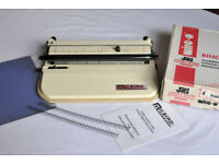 MILBIND WIRE BINDING MACHINE Model MILPC34 with wires and acetate covers, complete good condition.