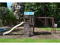 Childrens Wood Climbing Frame with slide and swings