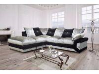 Get Your Order Today-- Premium Quality Dino Crushed Velvet 3 + 2 Sofa Or Corner Sofa in Black silver