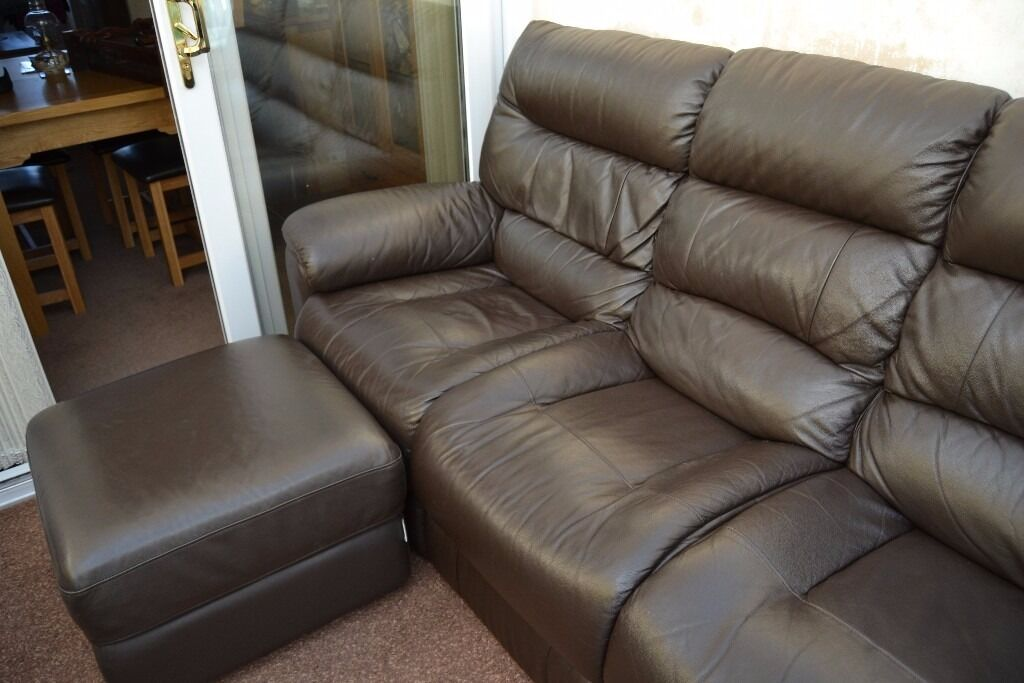 La Z Boy Lazy Manhattan Sofa Storage Footstool 3 Seater Settee Leather