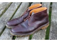 Mens English Handmade Lace up Desert Boots in Burgundy Leather size 9.4 / 44