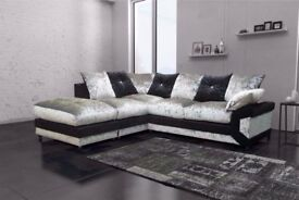 💥🔥CLASSIC SALE💥🔥 NEW DOUBLE PADDED DINO CRUSHED VELVET CORNER SOFA OR 3 AND 2 SOFA