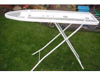 Normal sized white metal ironing board