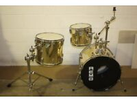 Vintage 1980s Remo Quadura - 3 Drum Gold Wrap Drum Kit + Cymbal Mount