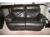 USED Brown Leather Two Seater Reclining sofa.