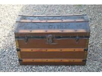 Old wood and leather Steamer trunk