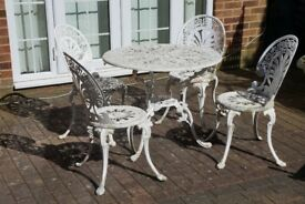 Vintage Aluminium Garden Table And Chairs Bistro Set