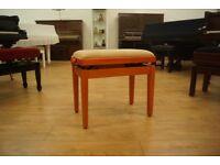 New Italian made cherry wood adjustable piano stool