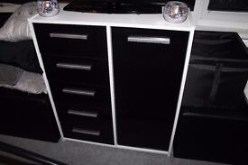 Chest of Draws Unit - Black & White - Good Used Condition