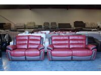 Ex-display Fiesta red and brown leather electric recliner 3+2 seater sofas