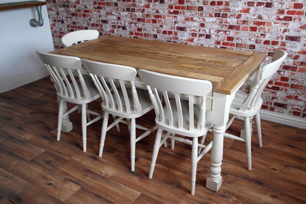 Kitchen Dining Table Set Rustic Farmhouse Extending Oak Style