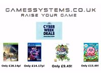 Cyber Week! Save up to 50% on Xbox One PS4 Switch Wii U Xbox 360 PS3 Wii 3DS 2DS PS Vita PC items!