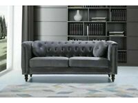 cash on delivery-plush velvet Florence sofa 3 and 2 seater sofa set in grey color-flat packed