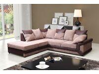 BLACK/GREY OR BROWN/BEIGE! New Dino corner 3+2 Seater Fabric JUMBO CORD Sofa Set or Corner Sofa