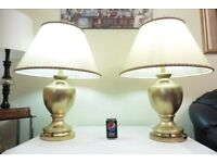 LARGE PAIR OF VINTAGE GILT PORCELAIN AND BRASS TABLE LAMPS WITH VINTAGE SHADES
