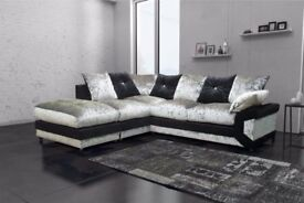 💗💓BEST SELLING 💗💓70% SALE --3 AND 2 SEATER DINO DIAMOND CRUSHED VELVET SOFA 3+2 CORNER SOFA