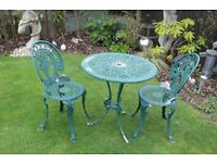 Aluminium Garden Table and 2 Chairs.