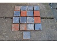 17x Vintage Victorian Red Floor Tiles 150mm x 150mm (6in x 6in ) Red And Blue
