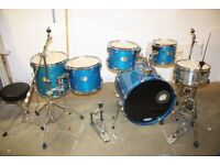 Pearl ELX Galaxy Blue 6 Piece Full Drum Kit (22in Bass) + All Stands + Cymbal set