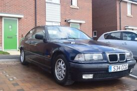 BMW e36 323i, coupe, automatic, 104k miles, blue, leather interior, future classic, 2.5l engine
