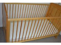 Mothercare wooden cot bed, SINGLE pine wardrobe and tall chest of drawers pine vgc