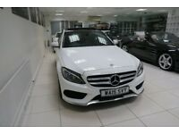 MERCEDES-BENZ C CLASS 2.0 C200 AMG Line (Premium Plus) Saloon Auto 4dr (start/stop) (white) 2015