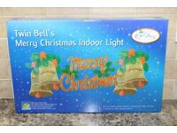 illuminated Window Christmas Decorations Twin Bell's Indoor Lights Plus a Candle Bridge.
