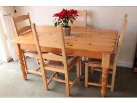5' Pine Table & 4 high backed chairs
