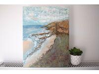 "Clashach Cove Hopeman Coast Seaside Beach, Original Acrylic Abstract Art Painting on 16 x 12"" Canvas"