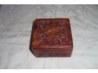 "Vintage Sqaure Wooden Box with Brass Inlay, Floral Carvings & Purple Lining 4"" Width"