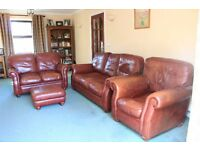 Leather Suite. 3 Seat Sofa, 2 Seat Sofa, Chair & Foot Stool